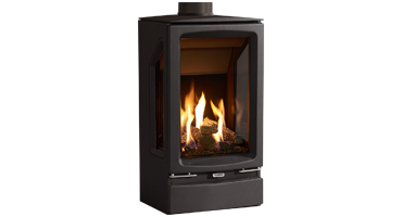 Vogue Midi T 3 Sided - NG - Conventional Flue Black Glass (563-180)