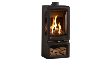 Vogue Midi T Midline 3 Sided - NG - Conventional Flue - Black Glass (563-224)