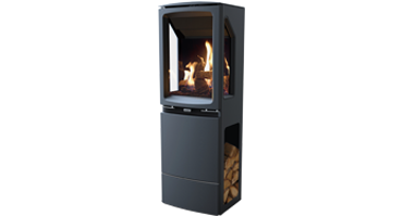 Vogue Midi T Highline 3 Sided - NG - Conventional Flue - Black Glass (563-191)