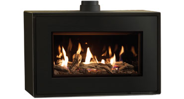 Studio 1 MK2 Freestanding Driftwood/ Black Glass - LPG - Conventional Flue