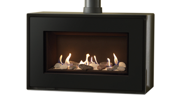 Studio 1 MK2 Freestanding Pebble And Stone/ Black Reeded - NG - Balanced Flue