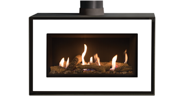 Studio 1 MK2 Freestanding Logs/ Black Reeded - LPG - Balanced Flue