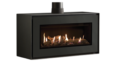 Studio 2 MK2 Freestanding Logs/Black Reeded - LPG - Conventional Flue