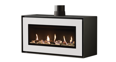 Studio 2 MK2 Freestanding Pebble And Stone/ Black Reeded - NG - Balanced Flue